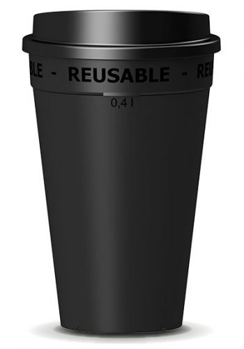 Reusable cup 0.4l black with lid - sustainably made in Germany