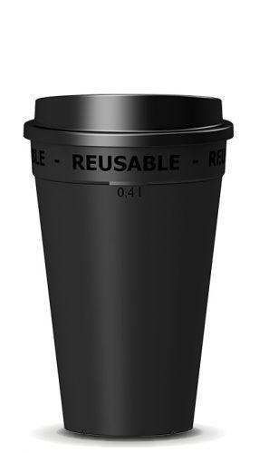Mehrwegbecher 0,4l schwarz mit Deckel - nachhaltig made in germany